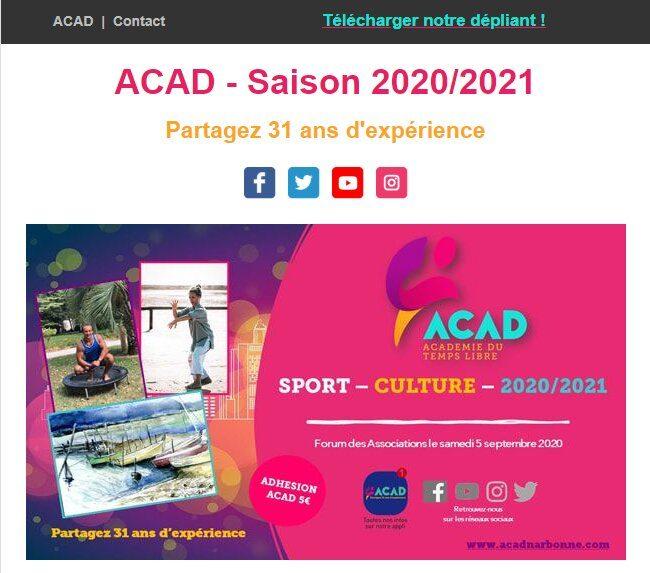 ACAD - Le dépliant 2020/2021 est en ligne !